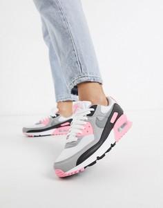 Белые кроссовки с розовыми вставками Nike Air Max 90-Розовый
