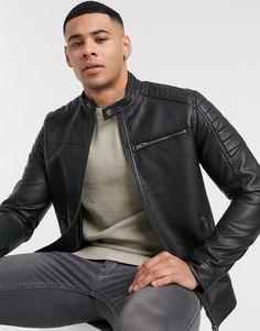 Черная куртка из искусственной кожи Jack & Jones Essentials-Черный