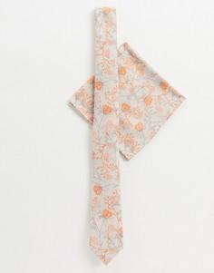 Жаккардовый галстук и платок для нагрудного кармана с цветочным узором ASOS DESIGN-Оранжевый