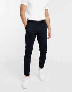 Темно-синие трикотажные строгие брюки Selected Homme-Темно-синий