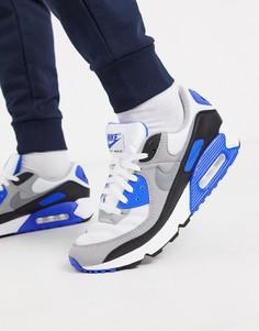 Бело-синие кроссовки Nike Air Max 90 Recraft-Белый