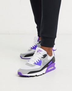 Бело-фиолетовые кроссовки Nike Air Max 90 Recraft-Белый