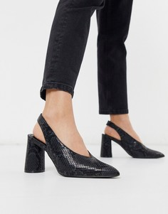 Туфли на каблуке с ремешком на пятке и змеиным принтом Miss Selfridge-Черный