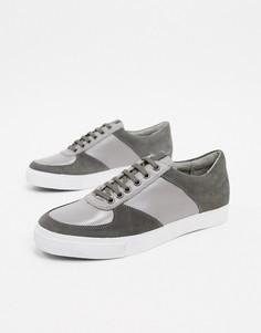 Серые кроссовки из кожи и замши Rule London-Серый