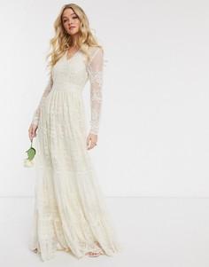 Свадебное кружевное платье макси кремового цвета с глубоким вырезом Y.A.S-Кремовый