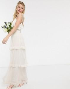 Ярусная юбка макси кремового цвета Y.A.S-Кремовый