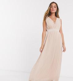 Розовое свадебное платье макси с плиссировкой и глубоким V-образным вырезом Y.A.S Petite-Бежевый
