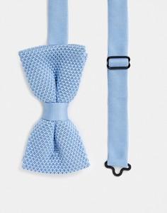 Голубой трикотажный галстук-бабочка Twisted Tailor-Синий