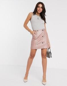 Розовая стеганая мини-юбка из искусственной кожи River Island-Розовый