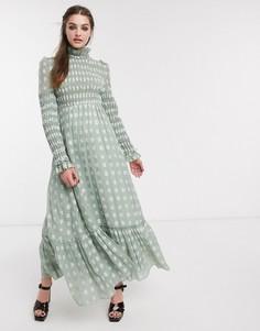 Платье макси с оборкой и цветочным принтом DREAM Sister Jane-Зеленый