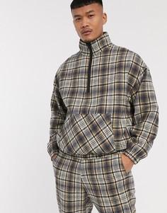 Куртка в клетку с короткой молнией Mennace-Бежевый