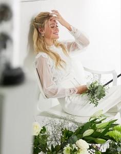 Белый свадебный кружевной топ с прозрачными рукавами Y.A.S