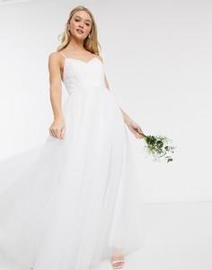 Белое свадебное платье макси из тюля Y.A.S-Белый