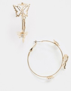 Серьги-кольца с бабочками ASOS DESIGN-Золотой