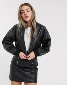 Черный кожаный бомбер Lab Leather