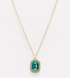 Ожерелье с зеленой подвеской-камнем ASOS DESIGN Curve-Золотой