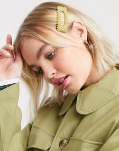 Желтая заколка для волос Monki-Зеленый
