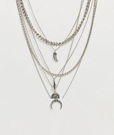 Ярусное ожерелье ASOS DESIGN-Серебряный