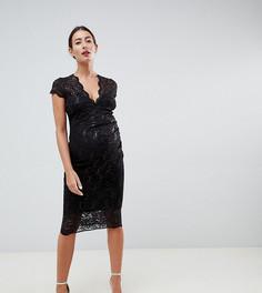 Черное платье миди с короткими рукавами и пайетками Flounce London Maternity-Черный