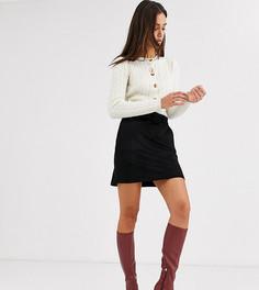 Черная мини-юбка из искусственной замши с поясом Vero Moda Tall-Черный
