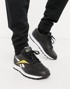 Черные кожаные кроссовки с логотипом Reebok Classic-Черный