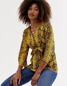 Блузка со змеиным принтом и завязкой AX Paris-Мульти