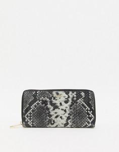 Кожаный бумажник на молнии со змеиным рисунком Paul Costelloe-Белый