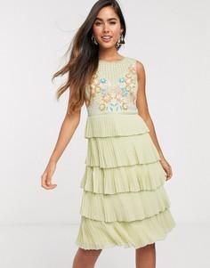 Зеленое ярусное платье мини Frock & Frill-Зеленый