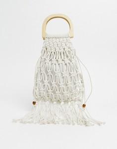 Ажурная сумка с бахромой и деревянной ручкой SVNX-Белый