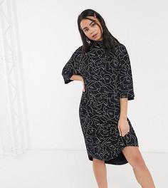 Черное трикотажное платье-футболка с принтом Monki-Черный