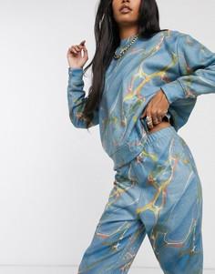 Свободные джоггеры с мраморным принтом от комплекта New Girl Order-Синий
