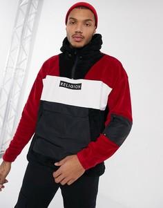 Красная куртка из искусственного меха с молнией до груди и нейлоновыми вставками Religion-Черный