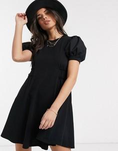 Черное поплиновое платье мини Topshop-Мульти