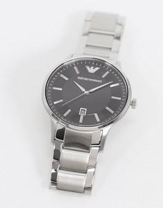 Серебристые наручные часы с черным циферблатом Emporio Armani AR11181-Серебряный