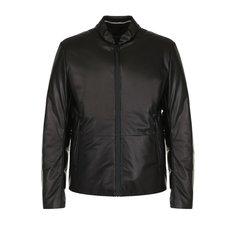 Куртки Giorgio Armani Кожаный пуховик на молнии с карманами Giorgio Armani