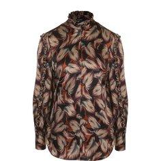 Блузы Kiton Шелковая блуза с принтом и воротником-стойкой Kiton