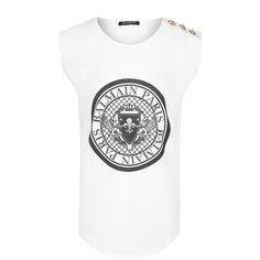 Топы Balmain Хлопковый топ с логотипом бренда и контрастными пуговицами Balmain