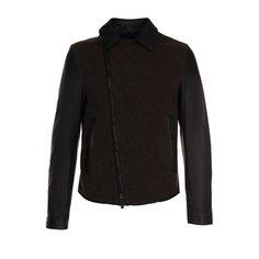Куртки Giorgio Armani Кожаная куртка с косой молнией и шерстяной отделкой Giorgio Armani