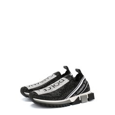 Комбинированные кроссовки Sorrento с отделкой стразами Dolce & Gabbana