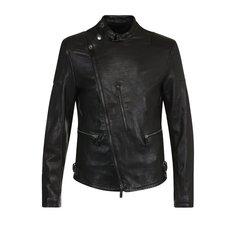 Куртки Giorgio Armani Кожаная куртка с косой молнией и воротником-стойкой Giorgio Armani