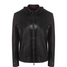 Куртки Giorgio Armani Приталенная кожаная куртка с воротником-стойкой Giorgio Armani