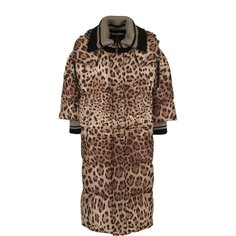 Удлиненный стеганый пуховик с леопардовым принтом Dolce & Gabbana