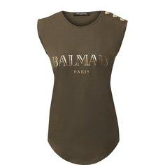 Топы Balmain Хлопковый топ с логотипом бренда Balmain