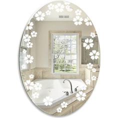 Зеркало Mixline Незабудки 57х77 овал, с пескоструйным рисунком (4620001986224)