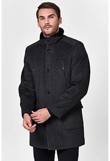 Утепленное пальто с отделкой меховой тканью Al Franco