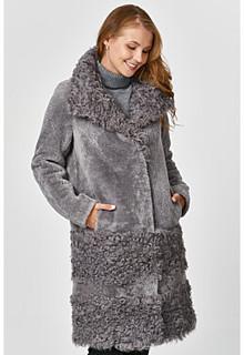 Комбинированная шуба из овчины Virtuale Fur Collection