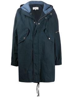 YMC пальто с капюшоном и жатым эффектом