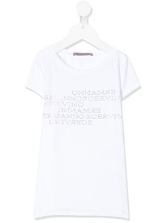 Ermanno Scervino Junior футболка с логотипом из страз и круглым вырезом