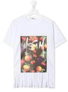 Msgm Kids футболка с графичным принтом и бахромой