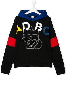 Karl Lagerfeld Kids худи в стиле колор-блок с длинными рукавами и логотипом